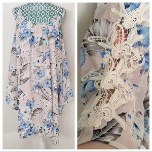 Kori Floral Crochet Sleeve Cold Shoulder Dress